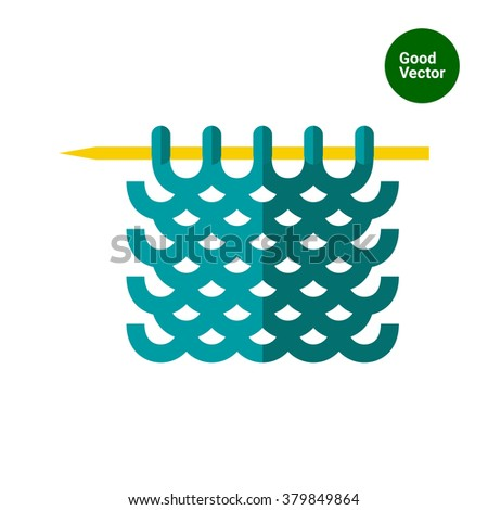 Knitted yarn on needle - stock vector