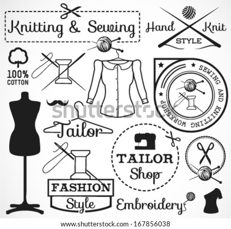 Knitting and Sewing Labels, Badges and Signs in Vintage Style - stock vector