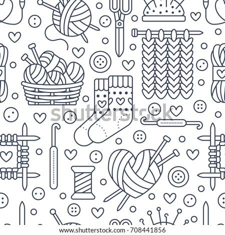 Knitting Crochet Seamless Pattern Cute Vector Stock Photo Photo