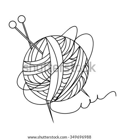 Knitting line ball - stock vector