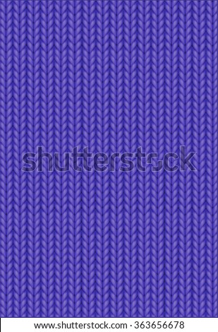 Knitting Pattern. Woolen cloth. Purple or blue knitting wool texture background. Sweater or scarf texture. Knitted jersey background. Wool hand-knitted or machine knitting pattern. - stock vector