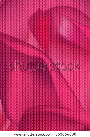 Knitting Pattern. Woolen cloth. Red knitting wool texture background. Sweater or scarf texture. Knitted jersey background. Wool hand-knitted or machine knitting pattern. - stock vector
