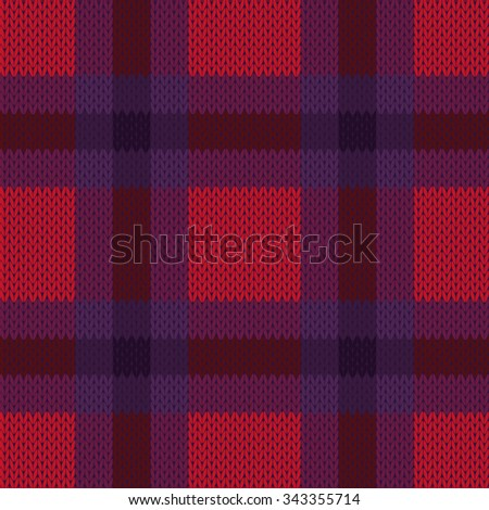Knitting seamless checkered vector texture as a simple texture in red, pink, brown and violet colours - stock vector