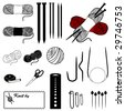 Knitting Tools: flat, circular and cable needles, yarns, tape measure, scissors, marker pins, stitch holders, gauge, sewing label with copy space. For do it yourself knit crafts, hobby. EPS8. - stock vector