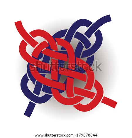 Knots on the rope symbol, silhouette illustration - stock vector