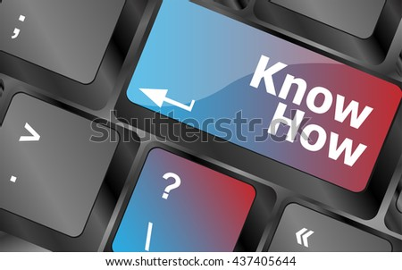 know how button keyboard key - business concept . keyboard keys. vector illustration - stock vector