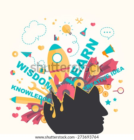 Knowledge and creativity icons flow from a man head in infographic design, create by vector - stock vector