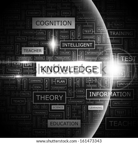 KNOWLEDGE. Background concept wordcloud illustration. Print concept word cloud. Graphic collage. Vector illustration.