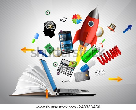 Knowledge base - e-learning possibilities, on-line shopping, banking and communication - stock vector