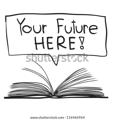 knowledge from book sketch vector - stock vector