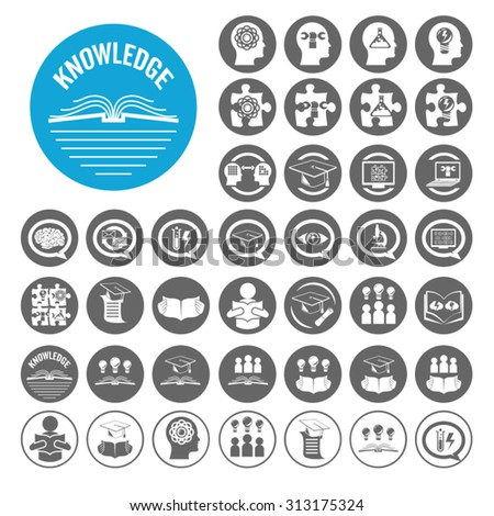 Knowledge icons set. Illustration EPS10 - stock vector