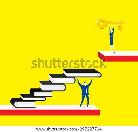 Knowledge is a key for success, businessman, businesswoman, books, gold key - stock vector