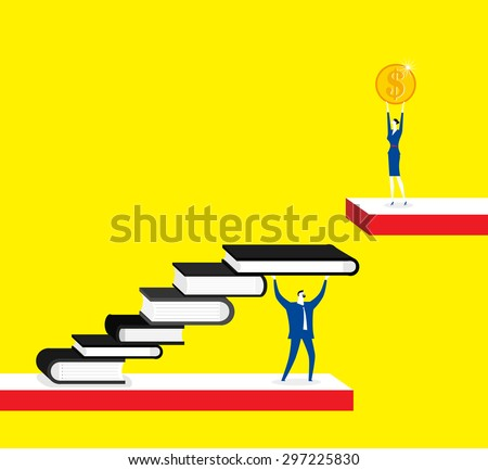 Knowledge is a shortcut for making money, businessman, businesswoman, books, coin. - stock vector