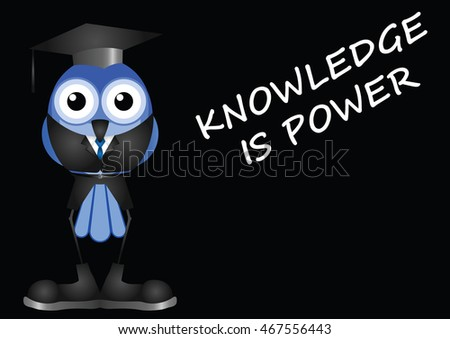 Knowledge is power message on black background with copy space for own text