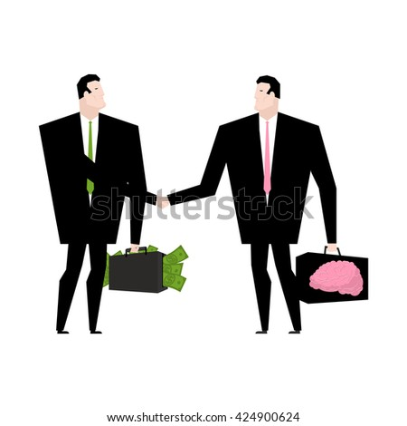Knowledge sale. Transaction exchange money on idea. Thoughts change for cash. Suitcase with dollars. Keys to brain. Handshake of two businessmen. Business deal - stock vector