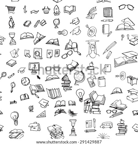 knowledge seamless texture pattern doodles vector icons in black and white
