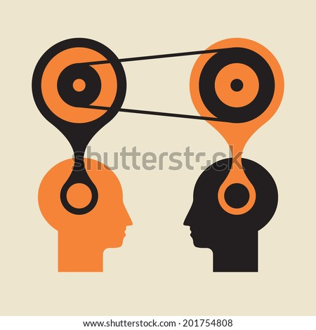 knowledge transfer or active thinking brain jump start - stock vector