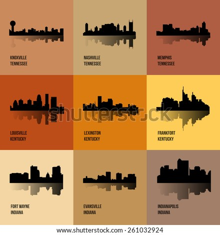 Knoxville, Nashville, Memphis, Louisville, Lexington, Frankfort, Fort Wayne, Evansville, Indianapolis (Set of 9 city silhouette) - stock vector
