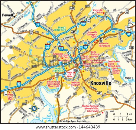 Knoxville tennessee area map stock vector 144640439 shutterstock knoxville tennessee area map sciox Gallery