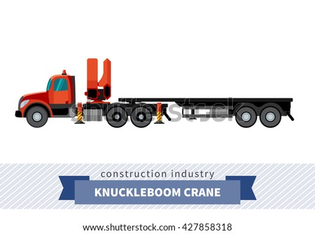 Knuckleboom crane semi truck. Side view mobile crane isolated vector illustration