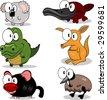 Koala, crocodile, tasmanian devil, platypus, kangaroo, emu - stock vector