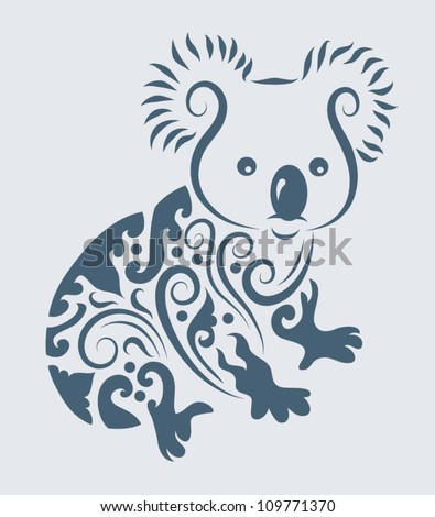 Koala ornament vector. Animal with floral ornament decoration. Use for t-shirt, tattoo or any design you want. Easy to change color - stock vector