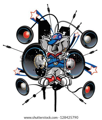 koala rap - stock vector