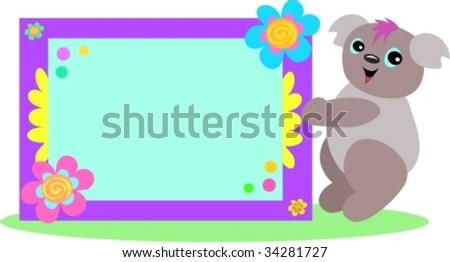 Koala with Spiral Floral Sign Vector