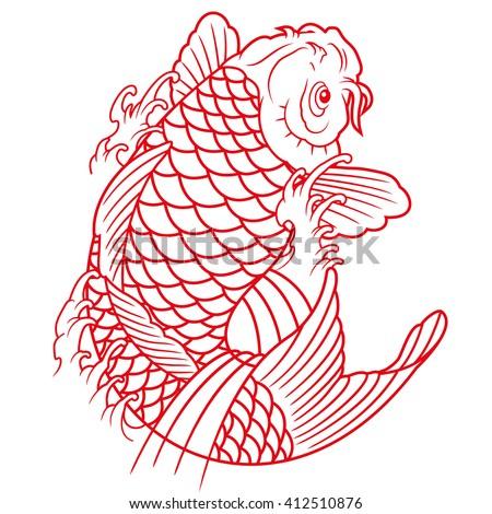 Koi fish outline stock vector 412510876 shutterstock for Koi fish outline