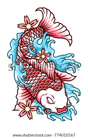 Koi Fish Vector Tattoo