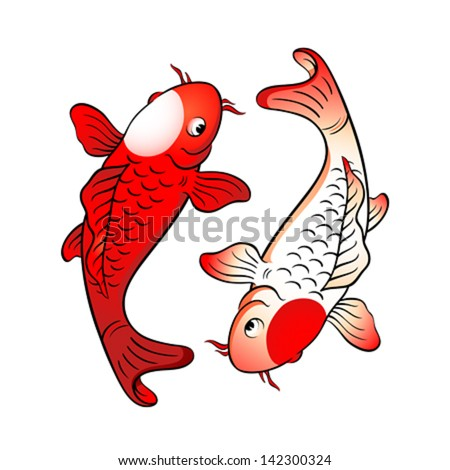 Koi fishes yin yang with japanese flag symbol - stock vector