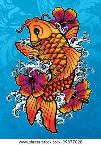 Koi with Hibiscus - stock vector