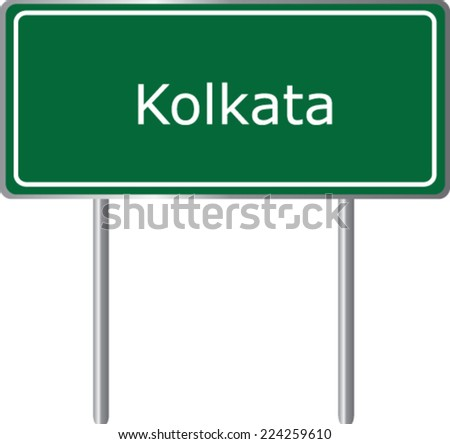 Kolkata road sign green vector illustration, road table - stock vector