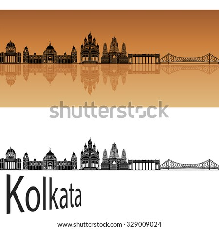 Kolkata skyline in orange background in editable vector file - stock vector