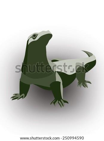 Komodo Dragon, Varanus komodoensis. - stock vector