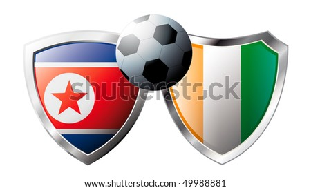 Korea DPR versus Cote d I voire abstract vector illustration isolated on white background. Shiny football shield of flag Korea DPR versus Cote d I voire - stock vector