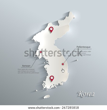 Korea map blue white card paper 3D vector - stock vector