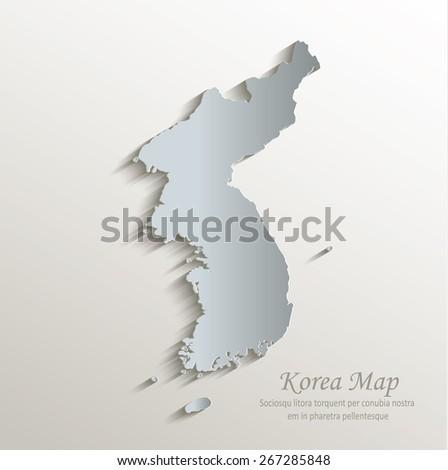 Korea map white blue card paper 3D vector - stock vector