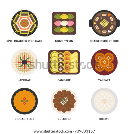 Korea thanks giving day traditional food vector illustration flat design