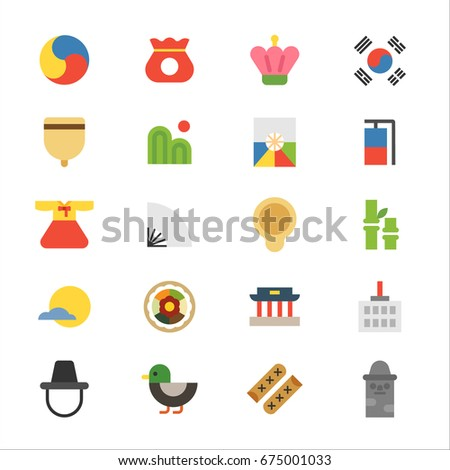 Korea traditional object icons vector illustration flat design