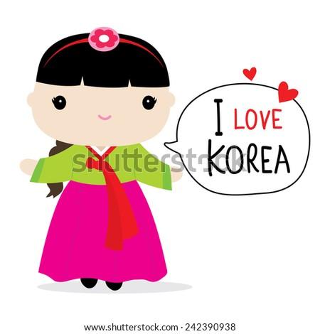 Korea Women National Dress Cartoon Vector - stock vector