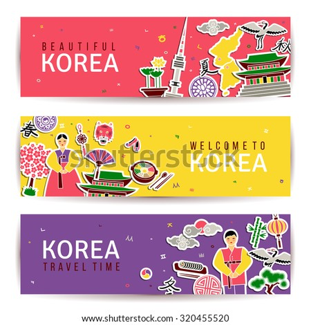 Korean banners set. Horizontal cards with traditional symbols. Architecture and nature, letters of Korean alphabet. Hieroglyphs for four seasons of year. Website headers. Asian New Year. Vector. - stock vector