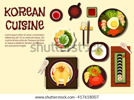 Korean cuisine icon with chicken ginseng soup, sushi rolls kimbap, rice bibimbap topped with vegetables and fried egg, cold noodles, spicy crab and jujube tea with shaved ice dessert