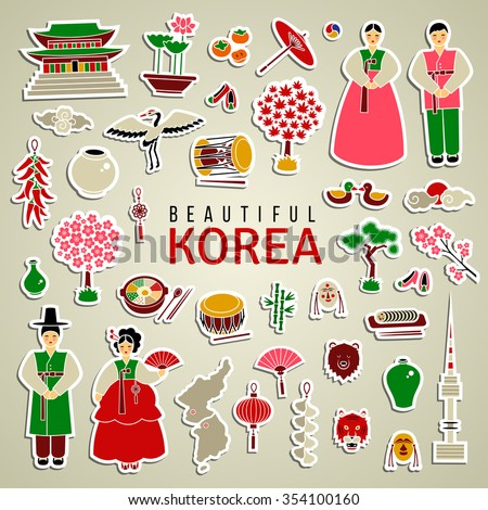 Korean cultural symbols. Set of sticker type icons. Travel concept. Traditional cuisine and clothes, authentic architecture and nature, etc. Isolated elements. Cute cartoon style. Vector illustration. - stock vector
