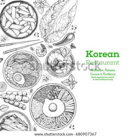Korean Food Menu Restaurant Sketch Asian Background