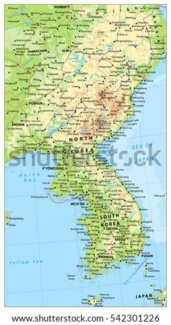 Korean Peninsula Large Detailed Physical Map Stock Vector 542301226