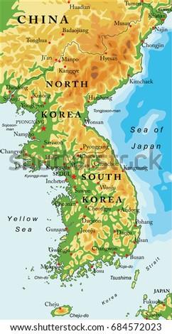 Korean peninsula relief map vectores en stock 684572023 shutterstock korean peninsula relief map gumiabroncs Images