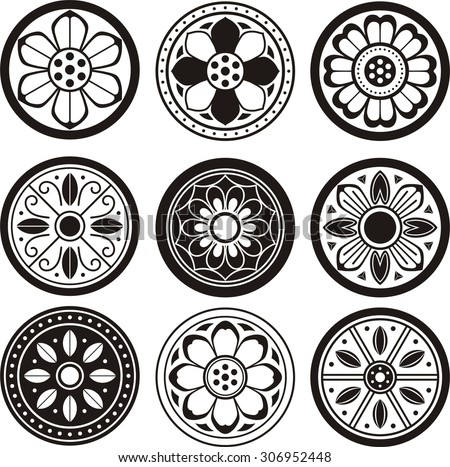 Korean traditional symbol vector image, Korean tradition flower pattern, convex tiles - stock vector