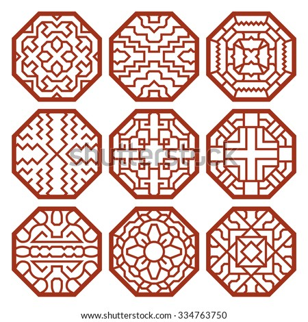 Korean traditional vector patterns, ornaments and symbols. Decoration asian, texture abstract illustration - stock vector
