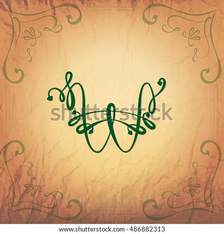 Korean Won Handwriting Symbol in Vintage Style on the Aged Paper Background. Vector EPS 10